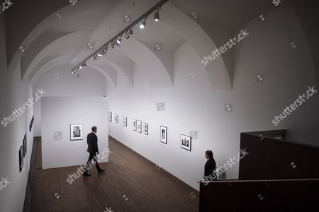 The director of the Albertina museum Klaus Albrecht Schroeder (L) walks through the exhibition 'Robert Frank' at the Galleries of Photography of the Albertina museum in Vienna, Austria, 23 October 2017. The exhibition Robert Frank will be open for public from 25 October 2017 until 21 January 2018.