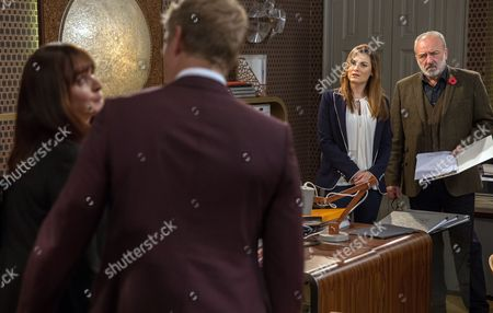 Ep 7983 Wednesday 8th November 2017 Kath, as played by Claire Cage, turns up at Home Farm to talk with Robert Sugden, as played by Ryan Hawley, in private. Later Robert reveals Kath's offered him a job away leaving Lachlan White, as played by Thomas Atkinson, delighted and Lawrence White, as played by John Bowe, uneasy. Robert implies he'll take the job leaving Lawrence devastated..