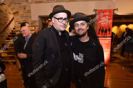 """Stock Photo of Rolin Jones and Billie Joe Armstrong pose at the opening of Geffen Playhouse's West Coast premiere of THESE PAPER BULLETS!"""", in Westwood, Calif"""