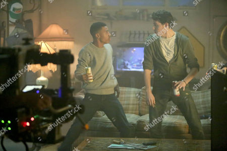 "IMAGE DISTRIBUTED FOR MOUNTAIN DEW - In this image taken in Los Angeles, actors dance to ""Out The Speakers Feat Rich Kidz"" by A-Trak and Milo & Otis during the filming of the ""Come Alive"" television commercial featuring two new flavors of Mtn Dew Kickstart - Pineapple Orange Mango and Strawberry Kiwi - that fuse an energizing blast of DEW with real fruit juice, coconut water and just the right amount of kick. The commercial will air for the first time on Sunday, Feb. 1, 2015 during the Super Bowl XLIX Pre-Game Show, and is part of the Mtn Dew Kickstart ""It All Starts with a Kick"" campaign"