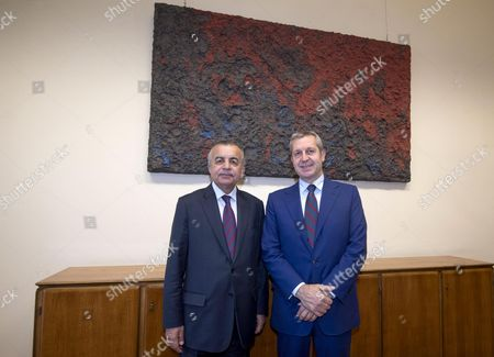 Italy's Undersecretary of State for Foreign Affairs, Benedetto Della Vedova (R) meets with Head of the UN Interim Administration Mission in Kosovo (UNMIK) Zahir Tanin at Farnesina' Palace in Rome, Italy, 23 October 2017.