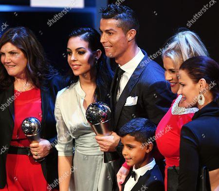 Stock Picture of Cristiano Ronaldo, Cristiano Ronaldo Jr., Georgina Rodriguez and Maria Dolores dos Santos Aveiro