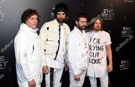 (L-R) Ian Matthews, Sergio Pizzorno, Tom Meighan and Chris Edwards of British band Kasabian arrive for the Best FIFA Football Awards 2017 at the London Palladium, London, Britain 23 October 2017.