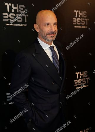 Italian soccer coach Gianluca Vialli arrives to attend The Best FIFA 2017 Awards at the Palladium Theatre in London