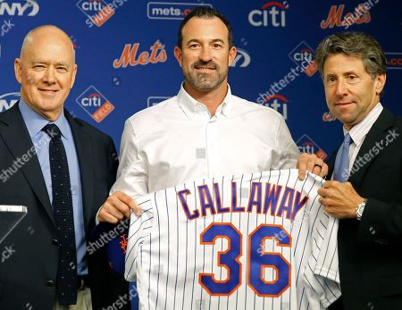 Stock Picture of Sandy Alderson, Mickey Calloway, Jeff Wilpon. New York Mets general manager Sandy Alderson, left, and Chief Operating Officer Jeff Wilpon, right, pose for pictures with the Mets' new manager Mickey Calloway after naming Calloway as a replacement for former Mets manager Terry Collins, during a news conference at CitiField in New York. Calloway comes to the Mets from the Cleveland Indians, where he was their pitching coach