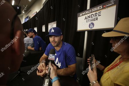 Los Angeles Dodgers right fielder Andre Ethier responds to questions during MLB World Series media availability at Dodgers Stadium in Los Angeles, California, USA, 23 October 2017. The American League Champions Houston Astros will play the National League Champions Los Angeles Dodgers in the best of seven games.