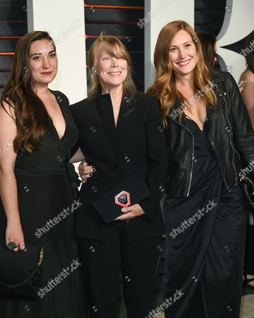 Stock Picture of Sissy Spacek, center, with her daughters Madison Fisk, left, and Schuyler Fisk arrive at the Vanity Fair Fair Oscar Party at the Wallis Annenberg Center, in Beverly Hills, Calif