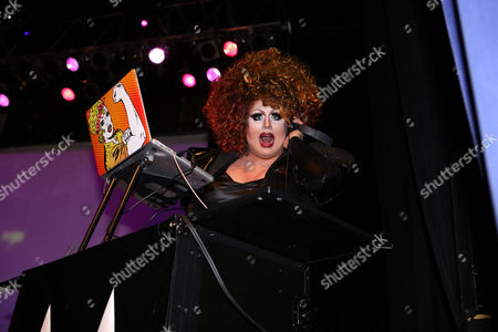 DJ Mimi Imfurst performing at Center Stage Theatre, in Atlanta. Hosted by Michelle Visage, featured drag queens on the tour are Jinkx Monsoon, Sharon Needles, Ivy Winters, Carmen Carrera, Pandora Boxx, Phi Phi O'hara and DJ Mimi Imfurst