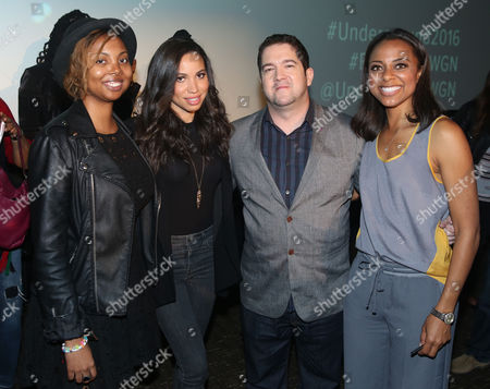 "From left, Misha Green, creator and executive producer, actress Jurnee Smollett-Bell, Joe Pokaski, creator and executive producer, and Nischelle Turner, moderator and Entertainment Tonight correspondent, are seen at WGN America's ""Underground"" NAACP Screening at iPic Theater on in Los Angeles"