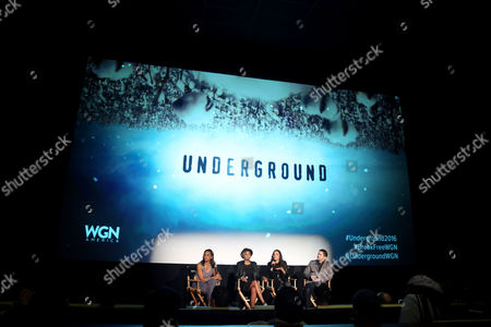 "From left, Nischelle Turner, moderator and Entertainment Tonight correspondent, Misha Green, creator and executive producer, actress Jurnee Smollett-Bell, and Joe Pokaski, creator and executive producer, are seen at WGN America's ""Underground"" NAACP Screening at iPic Theater on in Los Angeles"