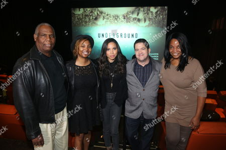 "From left, Ron Hasson, NAACP National Board Member, Misha Green, creator and executive producer, actress Jurnee Smollett-Bell, Joe Pokaski, creator and executive producer, and Tia Boyd, executive producer of NAACP Theatre Awards, are seen at WGN America's ""Underground"" NAACP Screening at iPic Theater on in Los Angeles"
