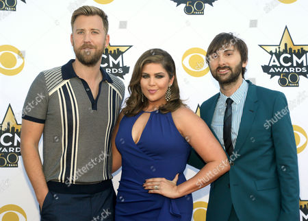 Charles Kelley, from left, Hillary Scott and Dave Haywood, of Lady Antebellum, arrive at the 50th annual Academy of Country Music Awards in Arlington, Texas. The group will host the 10th annual ACM Honors show, which will be televised for the first time on Aug. 30, 2016, in Nashville, Tenn. It will honor Glen Campbell, Tanya Tucker, Carrie Underwood, Keith Urban and Little Big Town