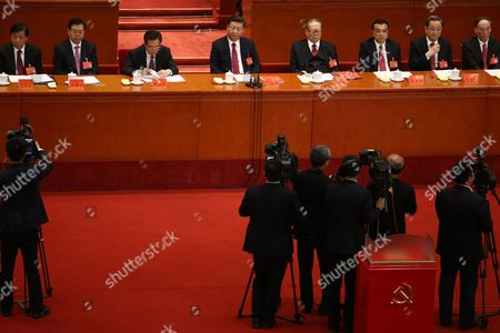 Former Chinese President Hu Jintao (3-L), Chinese President and General Secretary of the Communist Party of China Xi Jinping (4-L) and former Chinese President Jiang Zemin (5-L) attend the closing ceremony of the 19th National Congress of the Communist Party of China (CPC) at the Great Hall of the People (GHOP) in Beijing, China, 24 October 2017. According to media reports on 24 October 2017, the National Congress of the Communist Party of China voted to enshrine the signature ideology of President Xi Jinping into the Chinese Communist Party constitution, elevating him to the country's most influential and powerful leader in decades. President Xi Jinping was also granted another five years in power during 19th Congress of the Communist Party of China.
