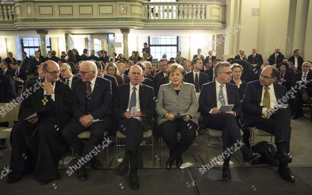 (L-R) Martin Dutzmann, commissioner of the Evangelical Church in Germany (EKD) council, German President Frank-Walter Steinmeier, outgoing President of the Bundestag Norbert Lammert, German Chancellor Angela Merkel, German Interior Minister Thomas de Maiziere, and German Agriculture Minister Christian Schmidt sit together prior to a mass at the French Cathedral in Berlin, Germany, 24 October 2017. The newly elected German 'Bundestag' parliament will hold its constituent meeting of Parliament in its 19th electoral period later the same day. The meeting will be opened with a speech by the chairman by seniority followed by the election of the President of the Bundestag and the other members of the Presidium, as well as the decision on the agenda of the German Bundestag.
