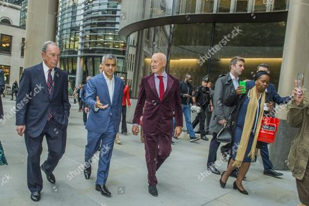 Michael Bloomberg, Sadiq Khan and Norman Foster tour the site