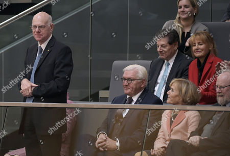 The former President of the Bundestag Norbert Lammert (L) attends the constituent meeting at the Bundestag in Berlin, Germany, 24 October 2017. Also attending: German President Frank-Walter Lammert (C), former Bundestag president Wolfgang Thierse (R), former minister for education Edelgard Bulmahn (top R), others not identified.The newly elected German Bundestag holds its constituent meeting of Parliament in its 19th electoral period. The meeting will be opened with a speech by the chairman by seniority followed by the election of the President of the Bundestag and the other members of the Presidium, as well as the decision on the agenda of the German Bundestag.