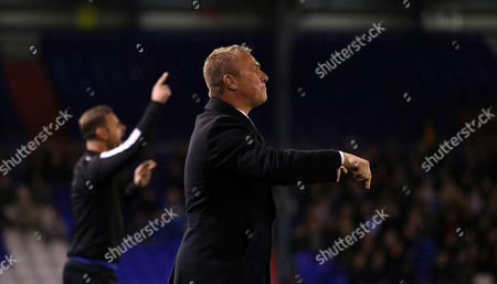 Stock Image of Lee Clark, Manager of Bury gives instructions