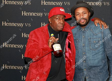 "Artist and DJ Grandmaster Flash and DJ D-Nice attend a private Hennessy dinner to commemorate the 50th anniversary of Barbados Independence at Sammy's Fish Box on in the Bronx a Borough of New York. Hennessy presented Grandmaster Flash with an engraved Hennessy V.S Limited Edition bottle, created specifically to commemorate the anniversary. Hennessy continues to champion artists, such as Grandmaster Flash, who ""Never stop. Never settle."" and show an uncompromising will to succeed while pushing the boundaries of their potential"