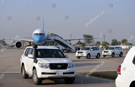 The motorcade of US Secretary of State Rex Tillerson leaves Nur Khan military airbase in Islamabad, Pakistan, 24 October 2017. US Secretary of State Rex Tillerson arrived in Islamabad on 24 October as Washington turns up the heat on Pakistan for allegedy providing 'safe havens' for Taliban militants.