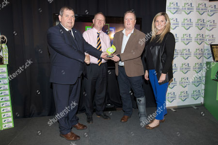 Eamon Naughton, Chairman of SSE Airtricity League, Best Match Day Experience winners, Stephen Gleeson, Board Director and Mark Lynch, Board Director of Shamrock Rovers and Leanne Shields, SSE Airtricity Marketing