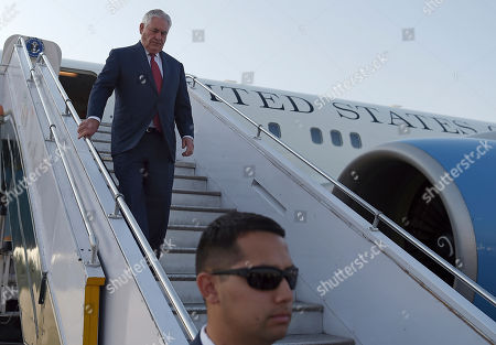 U.S. Secretary of State Rex Tillerson, arrives to the Nur Khan military airbase, in Islamabad, Pakistan