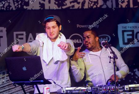 Baauer, left, and Just Blaze perform at the Dell Preview Event at the Fader Fort presented by Converse during SXSW on in Austin, Texas