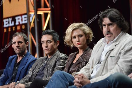 "From left, Creator/Executive Producer Roberto Orci, actors Gabriel Luna, Nicky Whelan, and Alfred Molina onstage during the ""Matodor"" segment of the El Rey Network 2014 Summer TCA, in Beverly Hills, Calif"