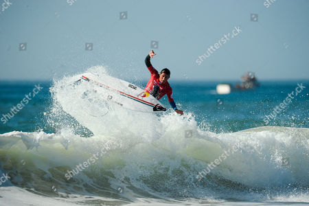Italian surfer Leonardo Fioravanti during the MEO Rip Curl Pro Portugal surfing event as part of the World Surf League (WSL) Championship Tour at Supertubos Beach in Peniche, Portugal, 24 October 2017.