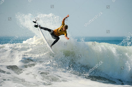 Hawaiian surfer John John Florence during the MEO Rip Curl Pro Portugal surfing event as part of the World Surf League (WSL) Championship Tour at Supertubos Beach in Peniche, Portugal, 24 October 2017.