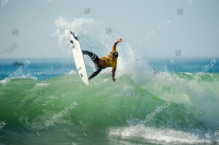 US surfer John John Florence during the MEO Rip Curl Pro Portugal surfing event as part of the World Surf League (WSL) Championship Tour at Supertubos Beach in Peniche, Portugal, 24 October 2017.