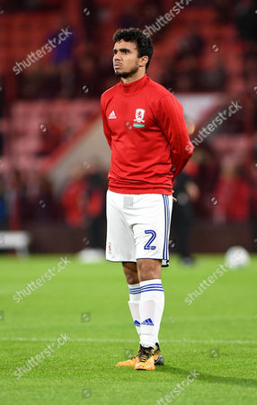 Fabio Da Silva,, of Middlesbrough, warms up ahead of tonights match during the Caraboa Cup, EFL Cup match between Bournemouth and Middlesbrough, at The Vitality Stadium (Dean Court) on 24th October 2017.