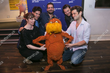 Stock Photo of Laura Caldow (The Lorax), Charlie Fink (Music/Lyrics), Max Webster (Director), David Greig (Adaptation) and David Ricardo-Pearce (The Lorax) with The Lorax