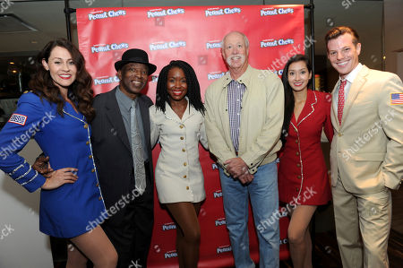 Stock Image of Mickey Rivers, Goose Gossage. The USO Show Troupe pose with former Yankees players Goose Gossage, center, and Mickey Rivers, second left, during Goldenberg's® Peanut Chews®100th anniversary celebration and kick-off of the 2017 USO of Metropolitan New York Holidays for Heroes program, in New York