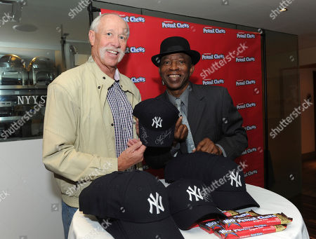 Goose Gossage, Mickey Rivers. Former Yankees player Goose Gossage, left, and Mickey Rivers sign Yankees baseball caps to be included in care packages sent to military members overseas as part of the 2017 USO of Metropolitan New York Holidays for Heroes program during the Goldenberg's® Peanut Chews® 100th anniversary celebration event, in New York
