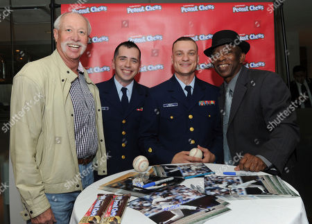Stock Picture of Goose Gossage, Mickey Rivers. Former Yankees player Goose Gossage, left, and Mickey Rivers, right, chat with active duty service members at the kick-off of the 2017 USO of Metropolitan New York Holidays for Heroes program during the Goldenberg's® Peanut Chews® 100th anniversary celebration event, in New York