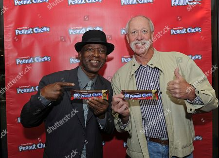 Mickey Rivers, Goose Gossage. Former Yankees players Mickey Rivers, left, and Goose Gossage help Goldenberg's® Peanut Chews® celebrate its 100th anniversary by kicking-off the 2017 USO of Metropolitan New York Holidays for Heroes program, in New York