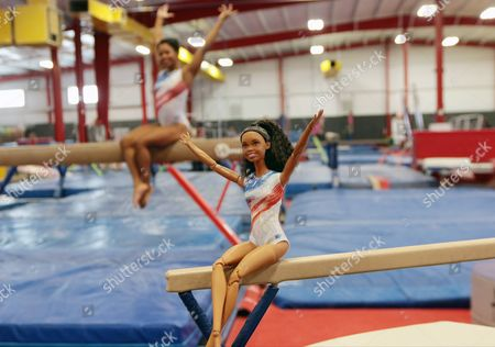"""IMAGE DISTRIBUTED FOR BARBIE - In this image distributed on Barbie honors Gabby Douglas, 2016 U.S. Olympic Gymnastics team member and two time 2012 Olympic gold medalist, with a one-of-a-kind Barbie doll in her likeness for inspiring girls. Douglas is honored as the most recent Barbie """"Shero,"""" a female hero inspiring the next generation of girls that they can be anything"""