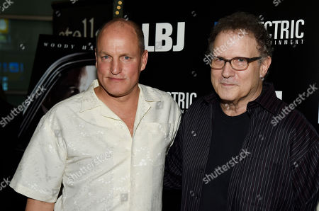 """Stock Photo of Woody Harrelson, Albert Brooks. Woody Harrelson, left, star of """"LBJ,"""" poses with Albert Brooks at the premiere of the film at the ArcLight Hollywood, in Los Angeles"""