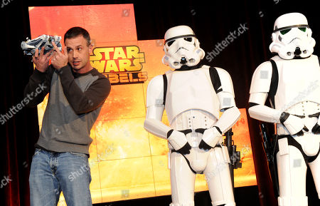 Actor Freddie Prinze, Jr., voice of Kanan, holds Star Wars Rebels Ghost Ship, joined by Stormtroopers, as Disney Consumer Products unveils an innovative assortment of toys inspired by the upcoming animated TV series â?oeStar Wars Rebels,â??, at the American International Toy Fair in New York