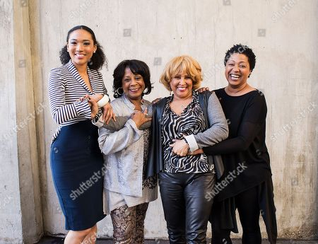 """From left, singers Judith Hill, Merry Clayton, Darlene Love and Lisa Fischer, featured in the Academy Award-winning documentary film """"20 Feet From Stardom,"""" pose for a portrait at the Rose Bowl in Pasadena, Calif. Clayton is recovering after being seriously injured in an automobile accident. Clayton's manager, Alan Abrahams, said in a statement that the veteran 65-year-old back-up singer """"sustained severe injuries to her lower body, including major trauma to her lower extremities"""" following a June 16, 2014 accident"""
