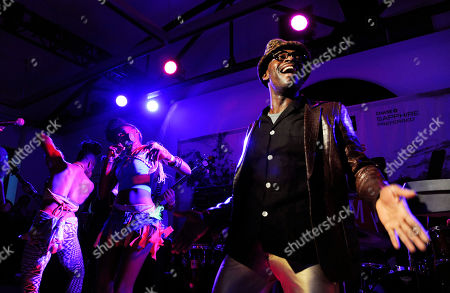 """Sahr Ngaujah and the """"Finding Fela"""" band perform at the """"Music in Film"""" celebration at the 2014 Sundance Film Festival,, in Park City, Utah. The Sundance documentary entry """"Finding Fela"""" tells the story of Nigerian singer Fela Kuti and the Afrobeat musical movement he pioneered"""