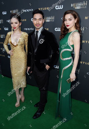 IMAGE DISTRIBUTED FOR OPPO - Vietnamese celebrities Ly Qui Khanh, center, Ho Ngoc Ha, right, and Toc Tien, pose on the 'green' carpet at the America's Next Top Model Cycle 22 premiere party in Los Angeles on . OPPO, a leading global smartphone brand, is featured throughout ANTM's cycle 22 set to air August 5 on the CW network