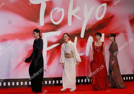Sakura Ando, You Aoi, Hikari Mitsushima, Ali Miyazaki. Japanese actress from left to right, Sakura Ando, You Aoi, Hikari Mitsushima and Ali Miyazaki leave the opening ceremony of the Tokyo Film Festival in Tokyo