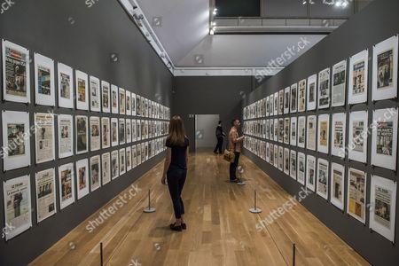 Stock Picture of Hans-Peter Feldmann, 9/12 Frontpage, 2001 - Age of Terror: Art since 9/11 a new exhibition at the Imperial War Museum.