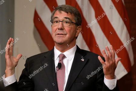 """Stock Picture of Harvard professor Ash Carter, former U.S. secretary of defense, address an audience, at a forum called """"Perspectives on National Security,"""" at the John F. Kennedy School of Government, on the campus of Harvard University, in Cambridge, Mass"""