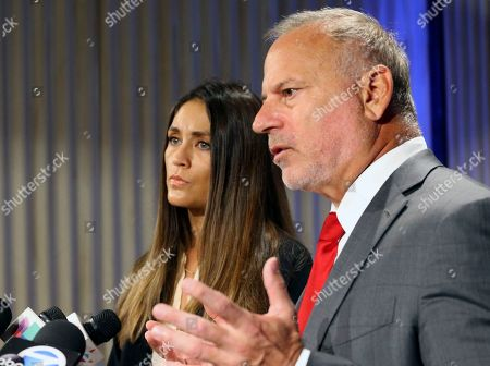 Stock Image of Dominique Huett, Jeff Herman. Actress Dominique Huett and attorney Jeff Herman announce a negligence lawsuit against The Weinstein Company at a news conference in Los Angeles on . They allege the company was aware of sexual misconduct by its disgraced co-founder, Harvey Weinstein. Huett claims in the lawsuit, filed Tuesday in Los Angeles, that Weinstein performed oral sex on her against her wishes at a Beverly Hills hotel in 2010