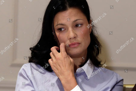 Actress Natassia Malthe reacts during a news conference in New York, where she alleged non-consensual sex by Harvey Weinstein