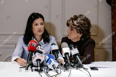 Natassia Malthe (L) sits with attorney Gloria Allred (R) during a press conference where Malthe detailed an alleged sexual assault by movie producer Harvey Weinstein in New York, New York, USA, 25 October 2017. Malthe is one of many women who have come forward in recent weeks with accusations of sexual assault perpetrated by Weinstein.