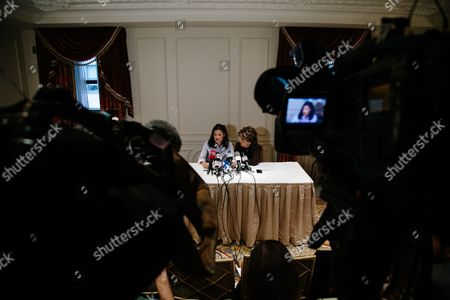 Stock Image of Natassia Malthe (L) sits with attorney Gloria Allred (R) during a press conference where Malthe detailed an alleged sexual assault by movie producer Harvey Weinstein in New York, New York, USA, 25 October 2017. Malthe is one of many women who have come forward in recent weeks with accusations of sexual assault perpetrated by Weinstein.