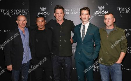 "Jon Kilik, Beulah Koale, Jason Hall, Miles Teller, Adam Schumann. Producer Jon Kilik, from left, actor Beulah Koale, director Jason Hall, actor Miles Teller and Army veteran Adam Schumann attend a special screening of ""Thank You for Your Service"" at The Landmark at 57 West, in New York"